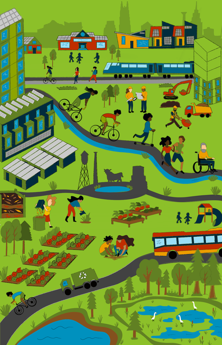 An illustration of a green Durham, with people on bicycles, scooters, wheelchairs and running; homes of all kinds under construction; recycling and composting; people gardening and children playing; buses and trains; wetlands, forests, streams and Durham's iconic landmarks.